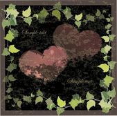 Vintage greeting card with the image of a wild ivy and hearts.Hand drawn va — Stok Vektör
