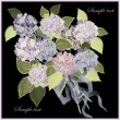 Vector de stock : Greeting card with bouquet of hydrangea.