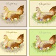 Easter card with hen and rooster - Stok Vektör