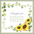Royalty-Free Stock Vectorielle: Beautiful decorative framework with a sunflower and blackberry,wild strawbe