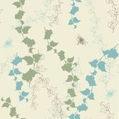 Seamless background with ivy and dragonflies. — Vector de stock