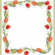 Beautiful decorative framework with tulips, lily of the valley and forget-m - Stok Vektör