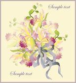 用一束兰花的贺卡。束美丽的花园兰花 — 图库矢量图片