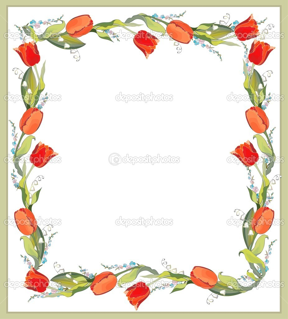 Beautiful decorative framework with tulips, lily of the valley and forget-me-not. — Stock Vector #5126128