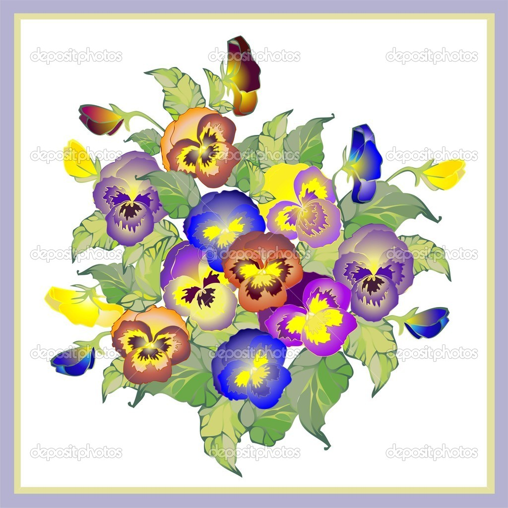 Greeting card with a bouquet  pansies.  Stock Vector #5155179