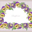 Beautiful decorative framework with flowers. Greeting card with pansies. — Stock Vector
