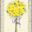 Greeting card with a bouquet daffodil. - Stock Vector