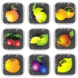 Icon set of various fruit and vegetables. Illustration fruits. - Stok Vektör