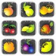 Icon set of various fruit and vegetables. Illustration fruits. — Stock Vector #5252740