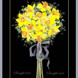 Greeting card with a bouquet daffodil. - Stok Vektör