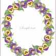 Beautiful decorative framework with flowers. Greeting card with pansies. - Stok Vektör