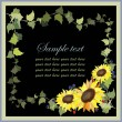 Beautiful decorative framework with a sunflower and blackberry,wild strawbe - Stok Vektör