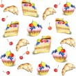 Seamless background.  Illustrations of the cake and croissant. - Stok Vektör