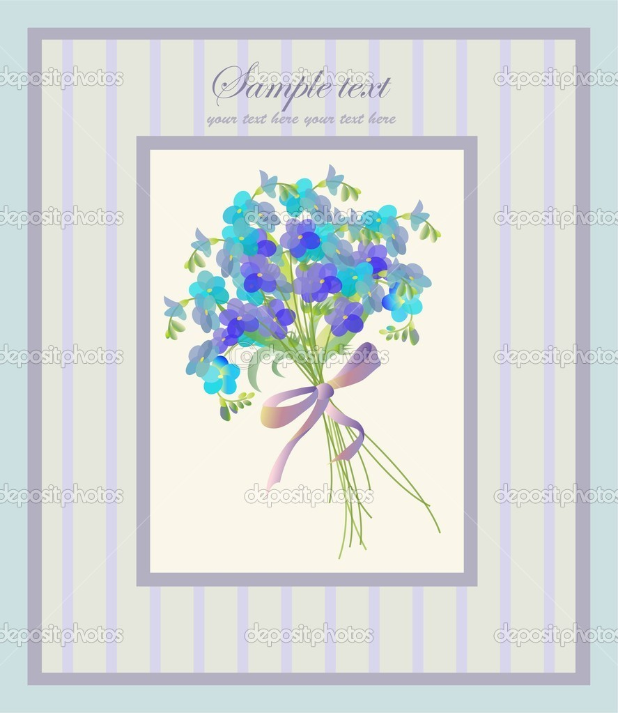 Beautiful decorative framework with flowers. Greeting card with  forget-me-not.  Stock Vector #5323696