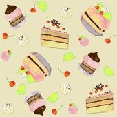 Seamless background. Illustrations of the cake. — Stock Vector
