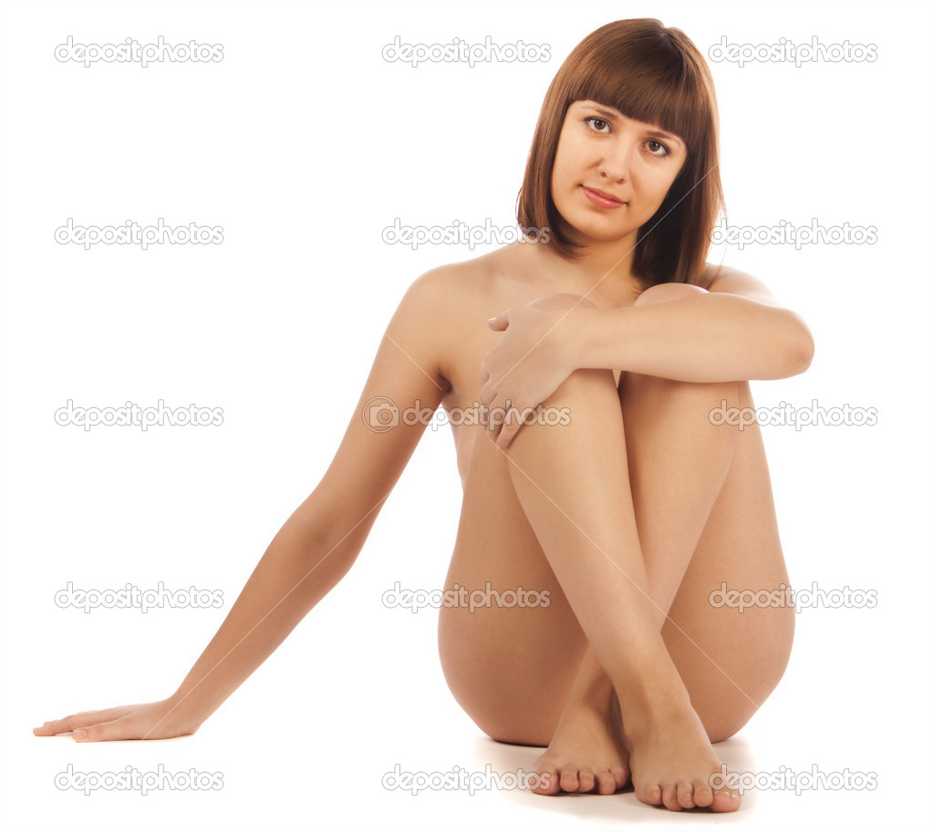 Naked Beautiful Woman Sitting On The Floor Stock Image
