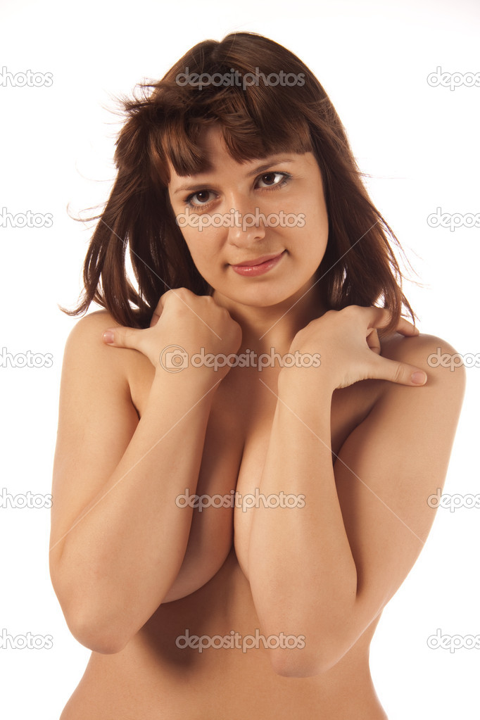 Portrait of young woman topless isolated image — Stock Photo #5249415