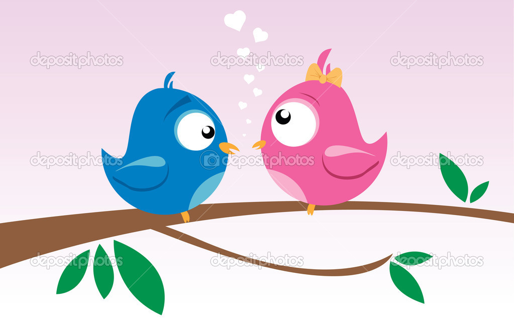 Vector illustration of two birds on a branch — Stock Vector #4054394