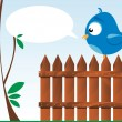 Bird on a wooden fence — Stock Vector