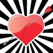 Un corazón y una flecha — Vector de stock