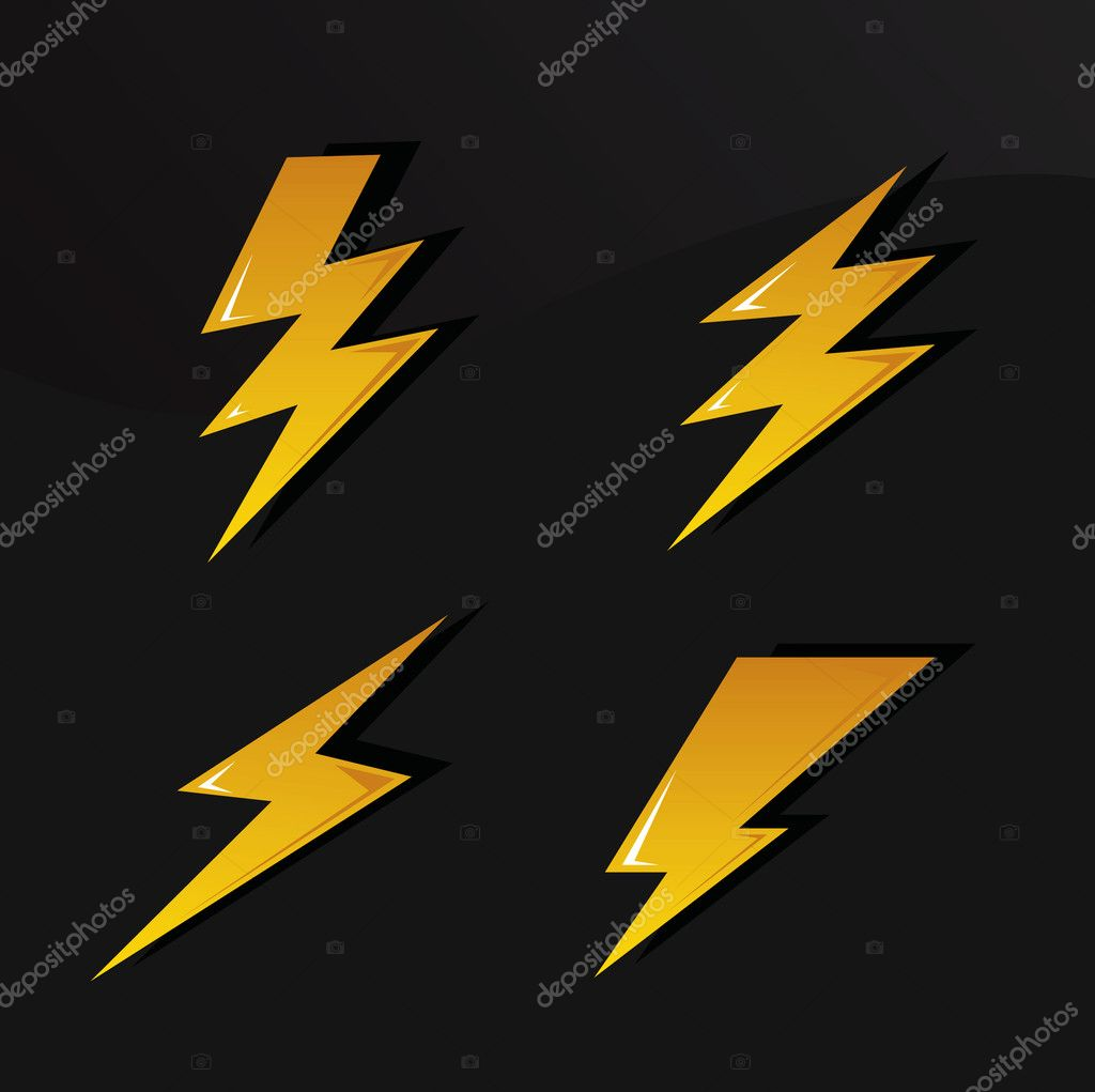 Vector set of various lightning signs — Stock Vector #5279784