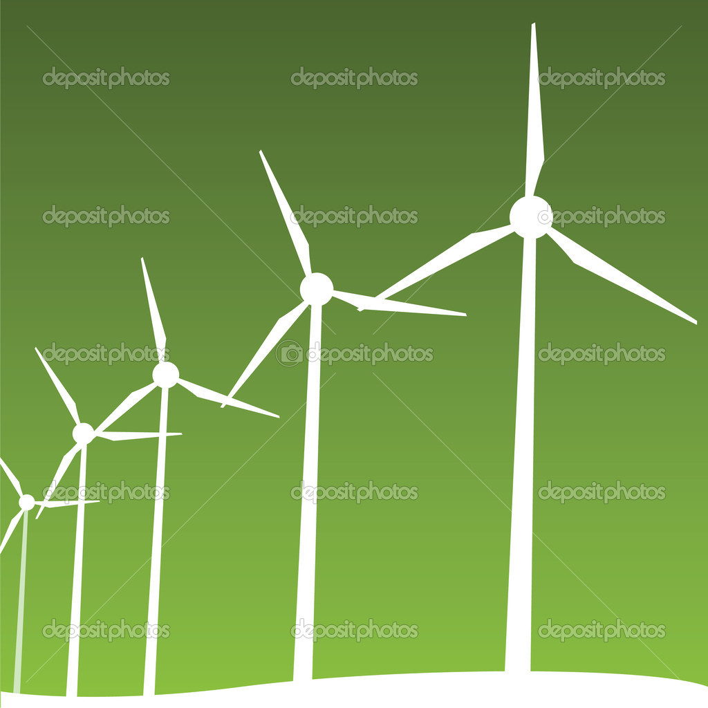 Vector illustration of windmills — Stock Vector #5279785