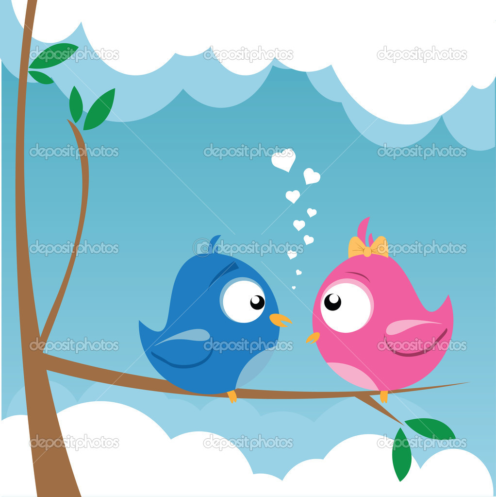 Vector illustration of two birds on a branch — ベクター素材ストック #5279795