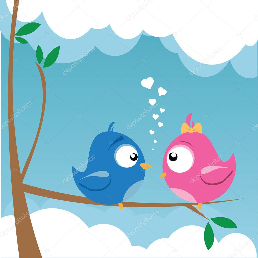 Vector illustration of two birds on a branch — 图库矢量图片 #5279795