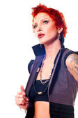 Punky red-haired tattooed young woman — Stock Photo