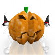 Stock Photo: Halloween. Because pumpkins peep 3d characters.