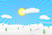 Illustrazione del paesaggio invernale — Vettoriale Stock