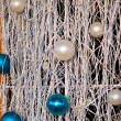 Christmas silver and blue balls — Stock Photo