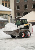 Snow removal vehicle removing snow after blizzard — Stock Photo
