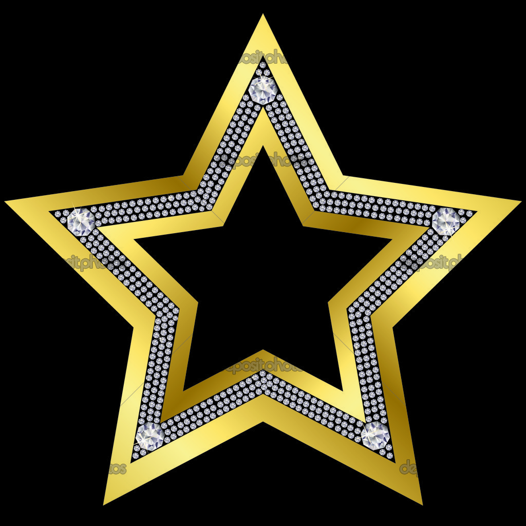 Golden star with diamonds, vector — Stock Vector #5269955