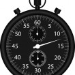 Vector black stop watch isolated on white — Stok Vektör