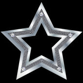 Silver star with diamonds, vector — ストックベクタ