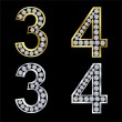 Set of numbers, golden and silver with diamonds, vector - Stock Vector