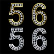 Set of numbers, golden and silver with diamonds, vector — Stock Vector #5361212