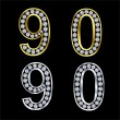 Set of numbers, golden and silver with diamonds, vector — Stock Vector