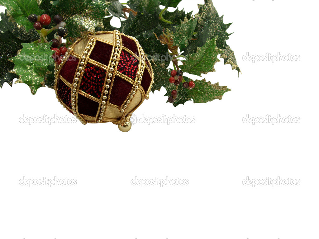 Ruby Christmas ball with holly and berries, isolated on white background  — Stock Photo #4065472
