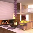 Stockfoto: Interior of house in purple-yellow colors