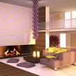 Foto de Stock  : Interior of house in purple-yellow colors