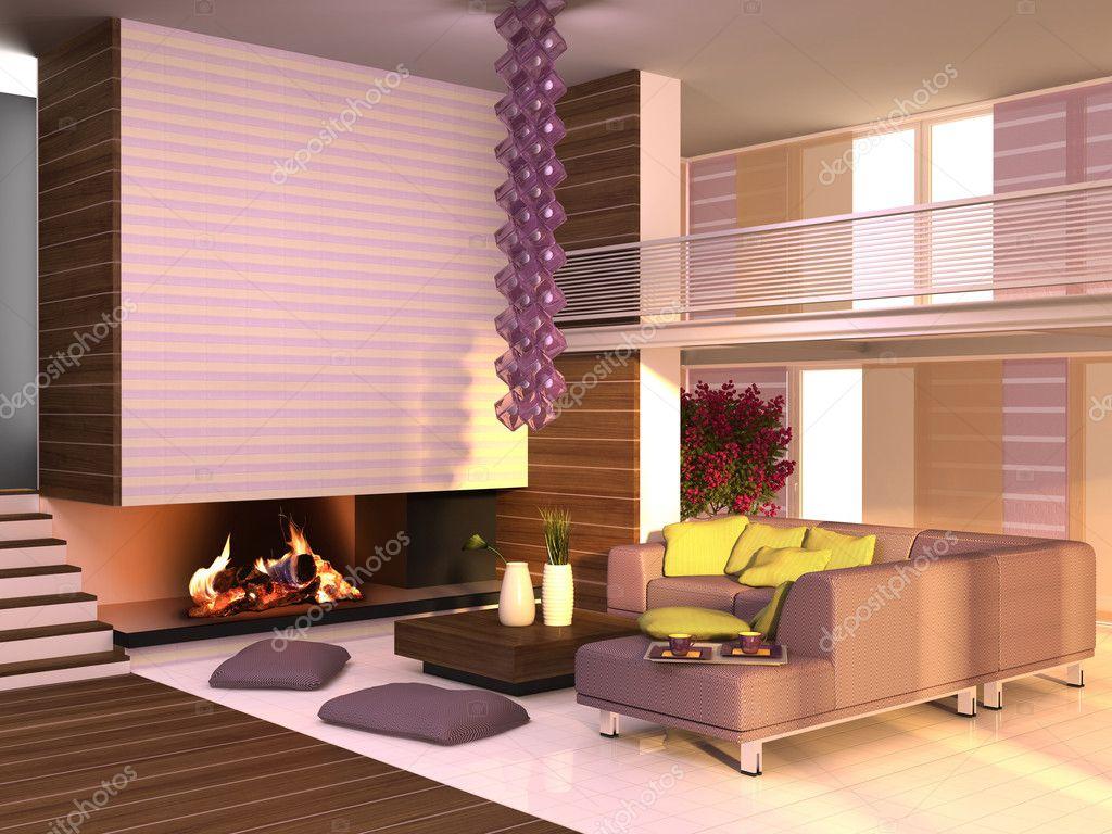 Interieur van het huis in paars geel kleuren stockfoto for Huis interieur kleuren
