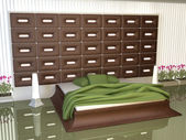 Bedroom of decorated leather inserts — Stock Photo