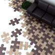 Floor in the interior is designed as Puzzles — Stock Photo
