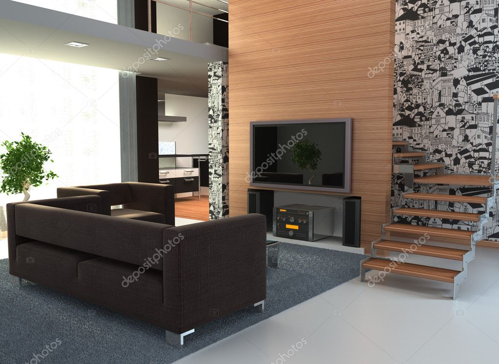Image of an interior with a large TV — Stock Photo #4811702