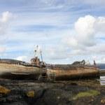 Abandoned old fishing boats. — Stock Photo