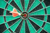 Darts board with single arrow — Stock Photo