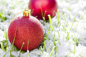 Red Christmas balls with snow — Stock Photo