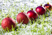 Christmas balls with snow — Stock Photo
